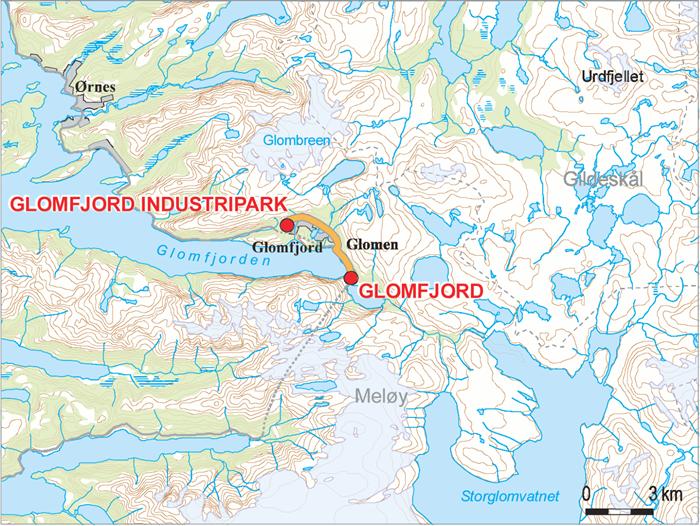 kart over glomfjord Kraftledning: Glomfjord kraftverk – Glomfjord industripark kart over glomfjord