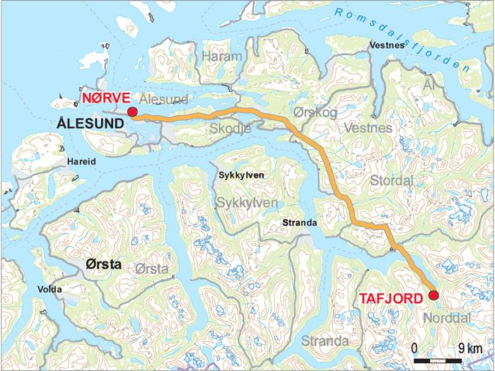 kart tafjord Kraftledning: Tafjord – Nørve kart tafjord