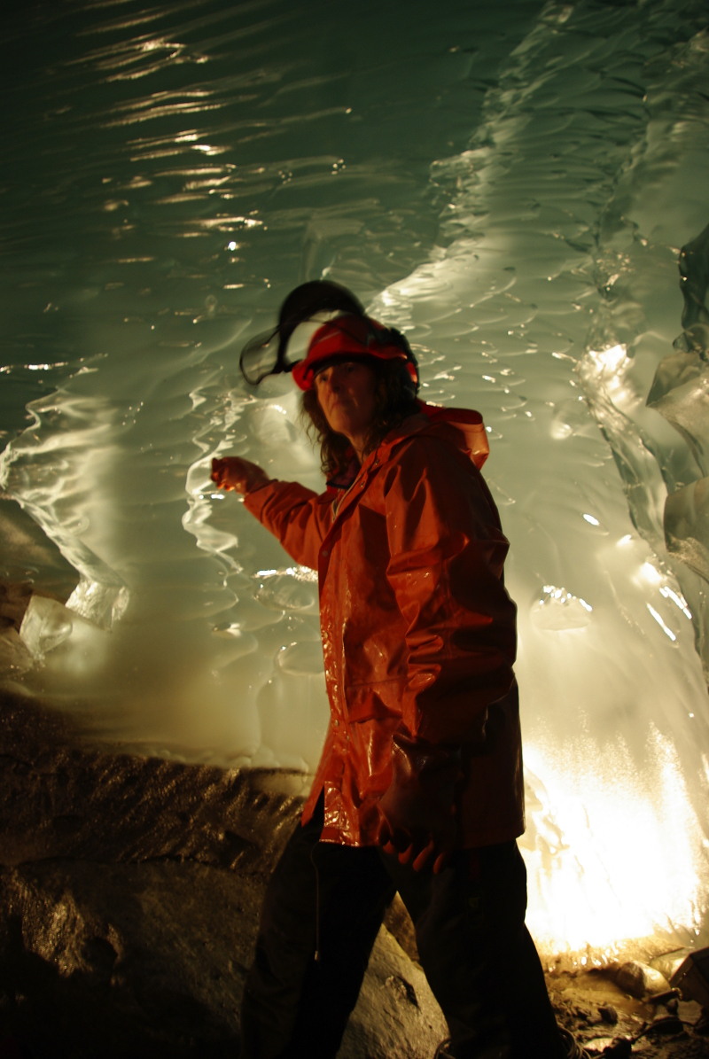 Miriam Jacson working in the ice cave made by hot water melting on 21st March 2009.